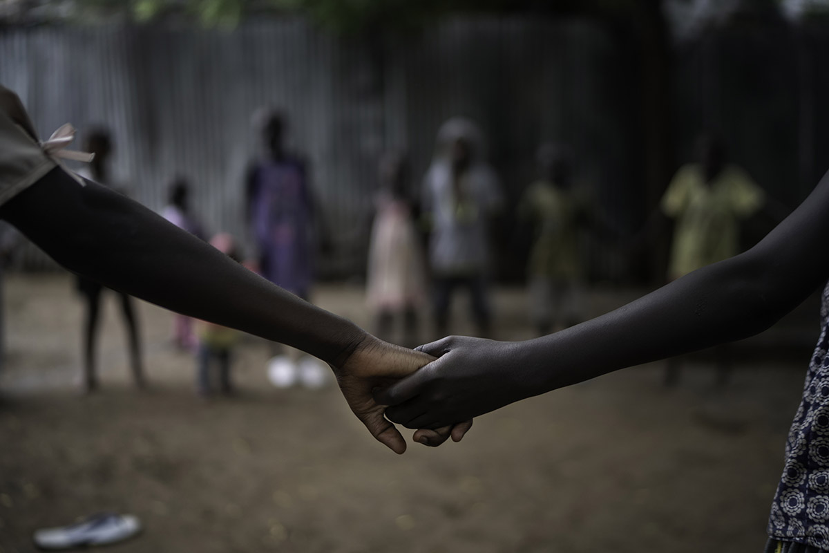 Children that live under protection at JRS Safe Haven is playing and singing during morning activities, Kakuma refugee settlement. ©Fredrik Lerneryd